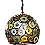 1960's Artisan Outsider Art Stained Glass Disk Chandelier Pendant Light