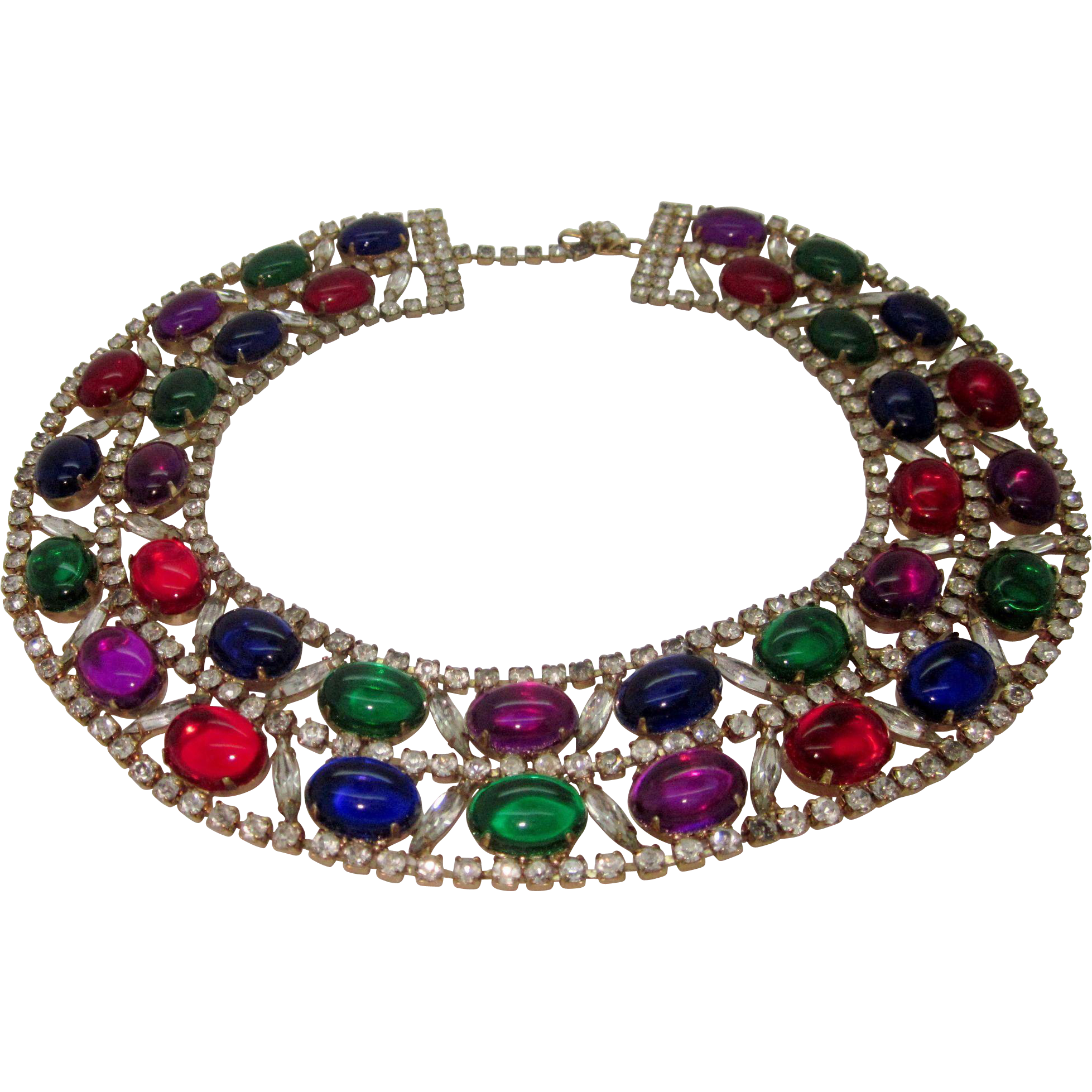 Vintage Collar Bib Necklace Jewel Tone Cabs and Icy Navette Rhinestones
