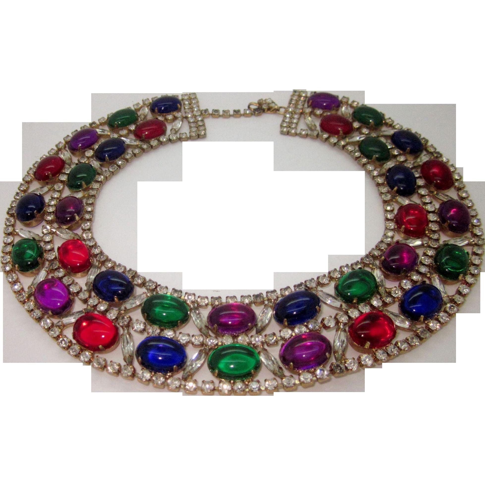 Vintage Collar Bib Necklace Jewel Tone Cabs and Icy Navette Rhinestones
