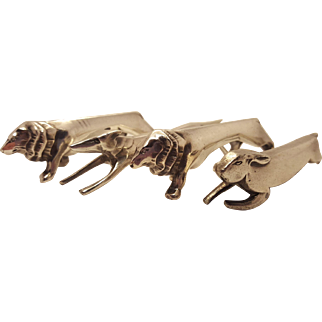 O. Gallia Christofle Silverplated Art Deco Knife Rests Set of Four With Two Lions, One Rabbit, And One Fox or Dog