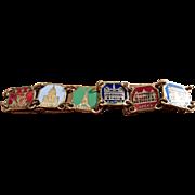 Vintage Paris Souvenir Enameled Brass Tone Bracelet