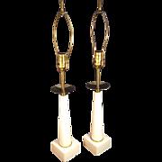 1950's Parzinger Style Alabaster & Brass Lamps Boudoir Lamps Table Lamps