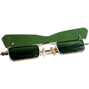 Vintage Green Mid Century Rectangular Sunglasses with Flip Down Visor Pat Boone