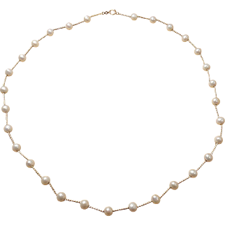 14K Yellow Gold Dainty Pearl Necklace 18in.