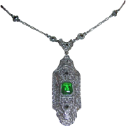 Vintage Peridot and Marcasite necklace set in 10kt White Filigree Gold