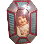 Vintage French Enameled Blue and Red Miniature Picture Frame
