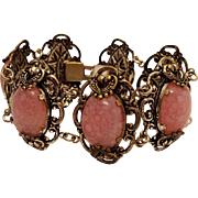 Vintage Pink Art Glass Mixed Metal Bracelet