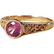 18K Gold Pink Tourmaline & Diamond Multistone Filigree Ring Size 6.5