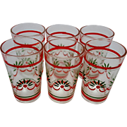 Set of 6 Poinsettia Holly Small Juice Christmas Glasses