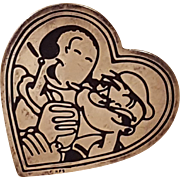 Sterling Silver KFS Popeye and Olive Oyl Heart Pin Brooch