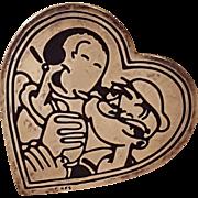 Sterling Silver KFS Popeye and Olive Oyl Heart Pin Brooch
