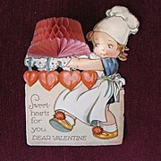 Vintage Valentine Card with pop-up Cake for Chefs