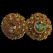 Vintage Crystal Earrings Green AB Stones