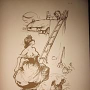 Risque French Lithograph 1915 Poulbot Sourire de Paris