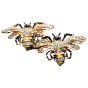 Katz Coro Craft Sterling Bumblebee Duette Pin  & Fur clips