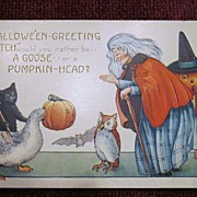 Vintage Halloween Postcard with a Witch, JOL, Goose, Black Cat, Owl