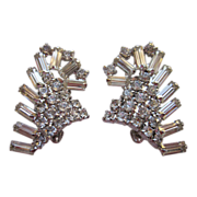 Spectacular Vintage Rhinestone Baguette Earrings