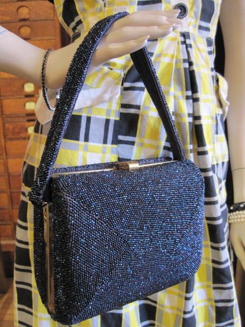Vintage Navy Beaded Bag