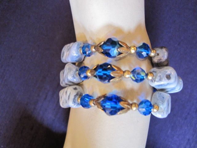 Gorgeous Triple Strand AB Blue Crystal Bracelet