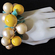 Vintage Cha Cha Coil Bracelet with Glass Leaves and Baubles