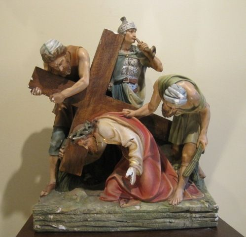 On Hold. Stations of the Cross #3 - Antique Catholic Church Plaster Statue Jesus Falls for the First Time