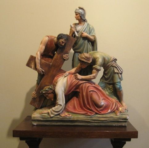 Hold for B.S. Stations of the Cross #7 - Antique Catholic Church Plaster Statue