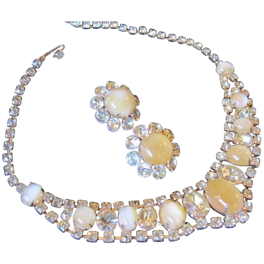 Stunning Demi-Parure with large milky yellow cabochons