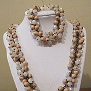 Vintage Miriam Haskell  Mother of Pearl Look and Wood Beaded Necklace Bracelet Set