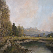Joseph Fruhmesser Oil on Canvas Painting Landscape