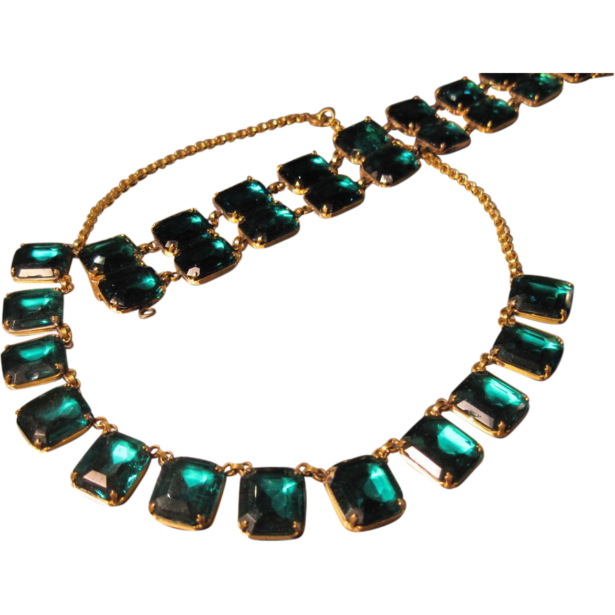Art Deco Czech Glass Demi-Parure in Emerald Green
