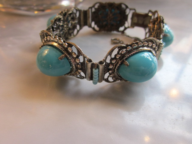 Fabulous Vintage Miriam Haskell Turquoise Colored Cabochon Bracelet