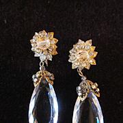 Vintage Miriam Haskell Chandelier Crystal Earrings