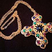 Vintage Jomaz Mazer Huge Cross Brooch Pendant Necklace with Jewel-tone Cabochons