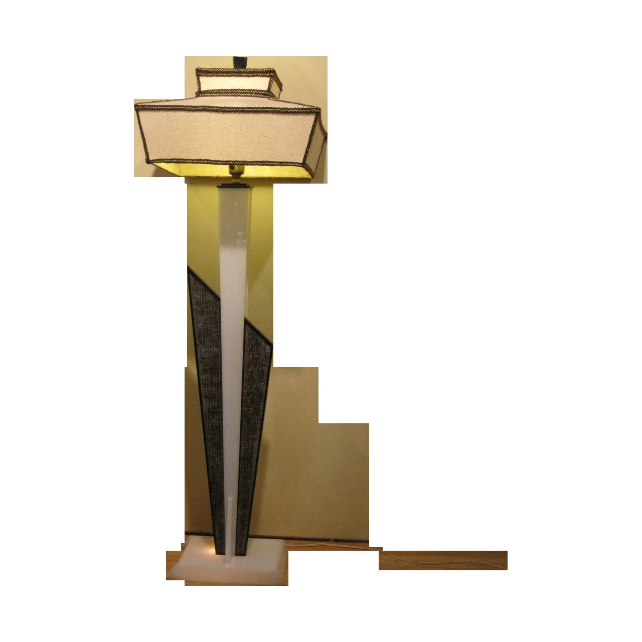 Mid Century Modern MCM Moss Floor Lamp