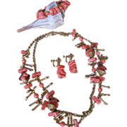 Vintage Miriam Haskell Parure Necklace Bracelet Earrings Sea Shell & Faux Coral