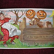 "Halloween Postcard Julius Bien ""What the Boys did to the Cow"""