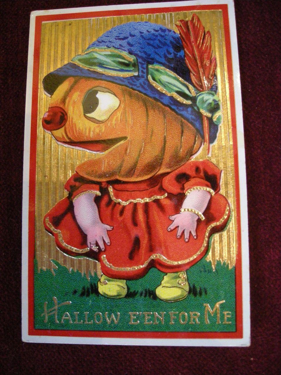 Halloween Postcard with Giant Pumpkin Head