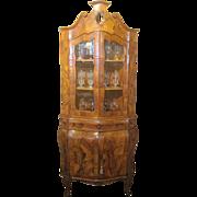 Italian Olivewood Bombe Corner Cabinet