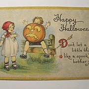 Vintage Halloween Postcard by Bergman 1917