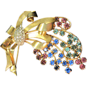 Reis Co. Vintage Rhinestone 12K gold filled Brooch multi-color