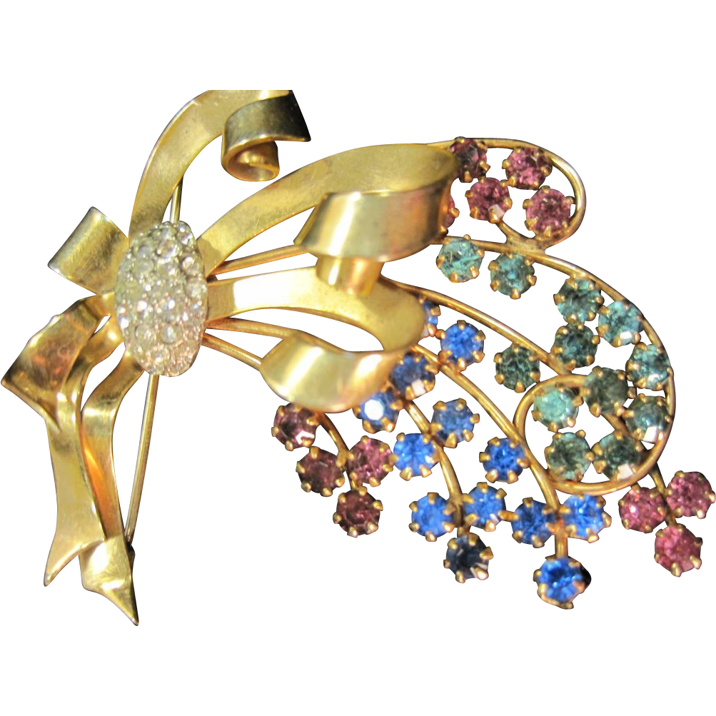 Reis co vintage rhinestone 12k gold filled brooch multi for Best place to sell gold jewelry in chicago