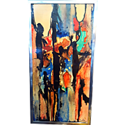 Abstract Modern Sonia Risolia Painting Signed with Unfinished Second Painting on Back