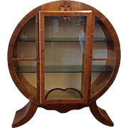 Vintage Art Deco Round Glass Front Locking Curio Cabinet with Three Glass Shelves