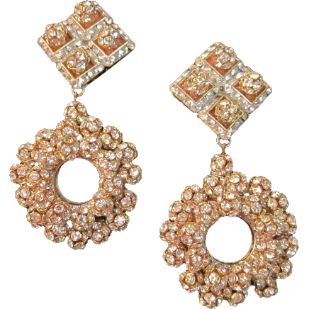 Bridal Runway Large Rhinestone Pave Earrings