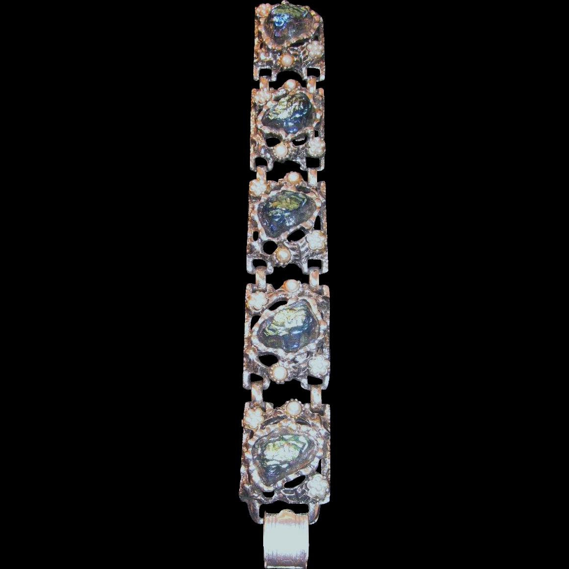 Vintage Schiaparelli Blue Icy Iridescent Lava Stone & Simulated Pearl Bracelet