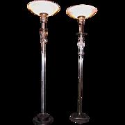 Pair of Art Deco Floor Lamps, Designer Viktor Schreckengost