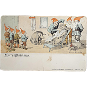 Macabre Pig Shaving Christmas Elf Postcard 1914 Engberg - Holmberg Publishing Co from Chicago IL