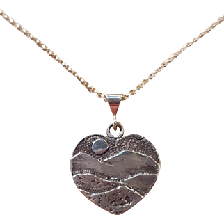 Vintage Sterling Silver Heart Charm Pendant Mountain Sunset Scene Necklace