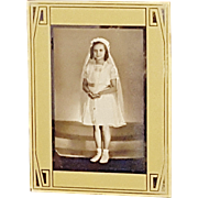 Vintage First Communion Creme & Silver Art Deco Reverse Painted Metallic Picture Frame Holds 3.5 x 5.5 Photograph