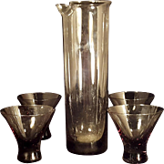 Mid Century Smokey Amethyst Low Martini Cocktail Glasses Set of 4 With Pitcher